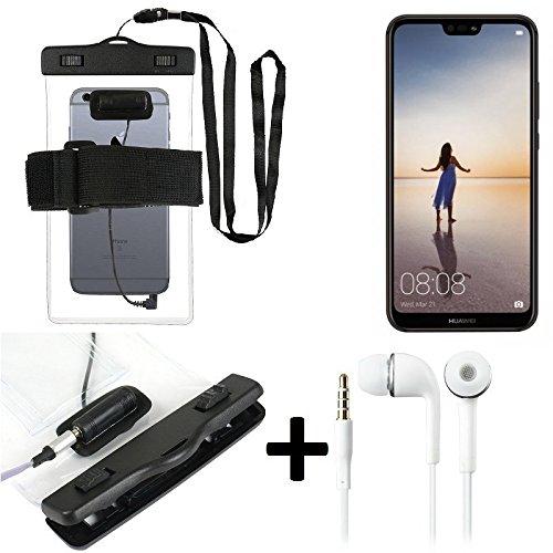 Für Huawei P20 Lite Single-SIM Wasserdichte Hülle mit Kopfhörereinlass + headset, transparent Jogging Armband Wasserfeste Handyhülle beach bag outdoor Beutel Schutzhülle Unterwasser case für Strand für Huawei P20 Lite Single-SIM - K-S-Trade®