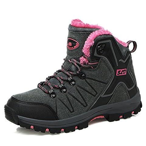 GOMNERAR Hommes et Femmes Bottes de randonnée Walking Ankle Waterproof Trekking Laces Shoes (Women EUR 40=UK6.5, Dark gray)