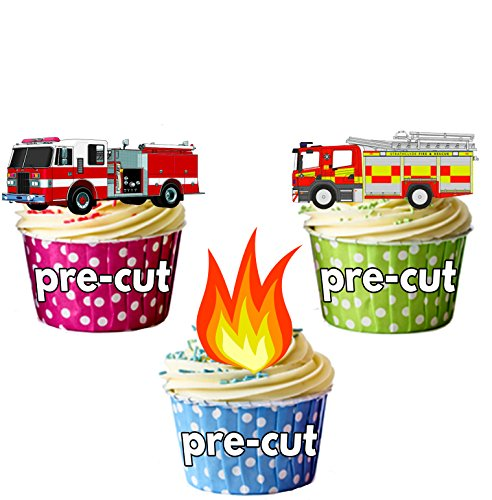 Fireman Party Pack, 36 Cup Cake Toppers - Edible Stand Up Decorations by AKGifts (Cup Cake Toppers)