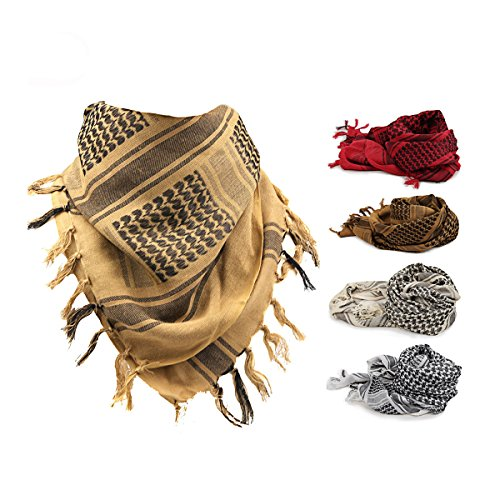 Tactical Wüste Schal-Verpackung, Fozela 100% Baumwolle Military Shemagh Keffiyeh Schal Ansatz Kopf Verpackung für Männer & Frauen (Bräunen-Tan) (Shemagh Wüste Schal)