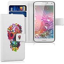 kwmobile Funda chic de cuero sintético para el Samsung Galaxy S5 / S5 Neo / S5 LTE+ / S5 Duos con una práctica función de soporte - ¡Diseño calabera en multicolor rosa fucsia blanco!