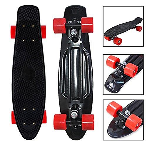 MCTECH Mini Cruiser Skateboard Streetsurfing PP Board mit Rädern 22 Zoll mit ABEC-5 Kugellager Komplett Fertig Montiert für Einsteiger , Kids, und Jugendjahre (Schwarz/Rot) -