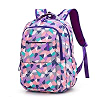 School Backpack - Belegao Teenagers Boys Girls School Bag Fashion Casual Geometric Pattern Waterproof Kids Rucksack Large Compartment Outdoor Travel Shopping Hiking Students Daypack