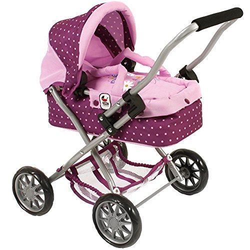 Bayer Chic 200055529–Carrito de Muñecas Smarty con correa de puntos Color Morado, lila/rosa