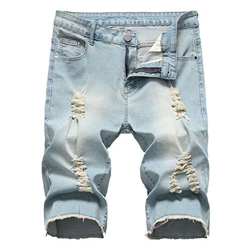 YURACEER Sommer Kurze Hosen Herren Cowboy Shorts Mode Loch Jeans-Shorts Für Männer Sommer Neue Beiläufige Kurzschlüsse 2019 mid Taille Kurze Jeans für männer Plus größe männer Shorts (Kein Gürtel) x1 (Bulova-uhr-reparatur)