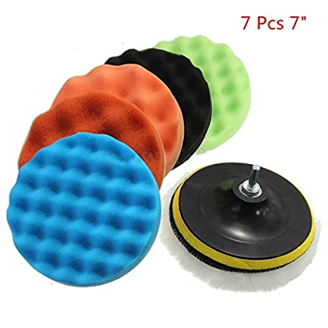 "Happyit 7 Pcs Car Polishing Disc Wool Polishing Wheel Car Beauty Waxing Sponge Plate + Wool Cushion + M14 Drilling Adapter Kit (7"")"