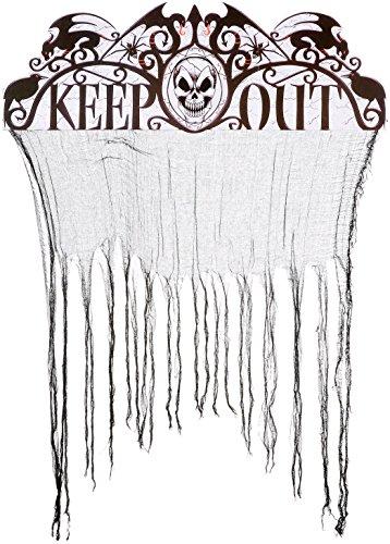 Heitmann Deco Halloween zerrissener Tür-Vorhang mit der Aufschrift Keep Out - gruselige Party-Deko