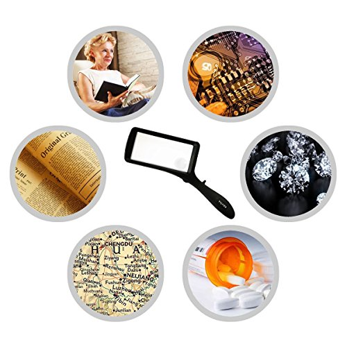 Leselupe 2X 6X Lupe mit LED Licht, Handlupe Vergrößrungglas für Senioren, Schmuck Lupe zum Lesen von Kleingedrucktem, Karten, Münzen, Briefmarken & Schmuck - 6