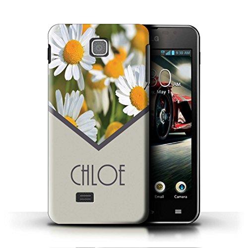 Personalisiert Individuell Blumen Hülle für LG Optimus F5/P875 / Gänseblümchen/Minze Grün Design / Initiale/Name/Text Schutzhülle/Case/Etui Lg Optimus Hülle