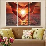 Mit Rahmen Rahmen Leinwand HD druckt Wand Kunst Bilder Poster 3 Stück Herz Form Geste Sunset Seaview Gemälde Home Decor Wohnzimmer, 30 x 60 cmx 3 Stk.