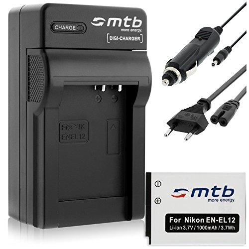 Batteria + Caricabatteria (Auto/Corrente) per Nikon EN-EL12 / Coolpix AW120, S6000, S8000. vedi lista!