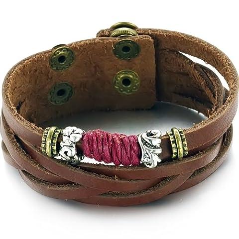 Faysting EU Bracelet Bracelet Acier avec Cuir Style élégant Arabesque Rouge