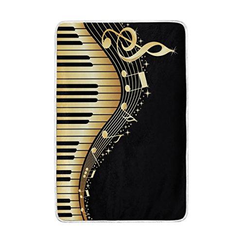 Oro Música Nota y clave de Piano grande manta mantas para sofá sofá tela de poliéster rey Reina tamaño camas decoración del hogar, poliéster, multicolor, 60 x 90