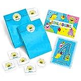 6 Einladungskarten zum 4. Kindergeburtstag incl. 6 Umschläge, 6 Tüten, 6 Aufkleber / für Mädchen und Jungen