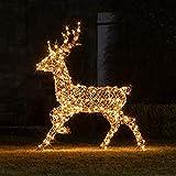 Lights4fun LED Rattan Hirsch 125cm Timer strombetrieben Außenbereich