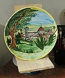SANTA-MARIA-DEL-FIORE-Piatto-di-ceramica-decorato-a-mano-diametro-cm-401-MADE-in-ITALY-Toscana-Lucca-certificato