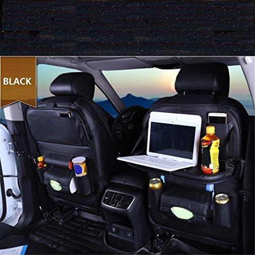 ZHCJH PU-Leder Auto Rücksitz-Organizer,Falten Wasserdicht Premium Rückenlehnenschutz, Kick-Matten-Schutz In Universeller Passform(2Pcs),Black - Kick Falten