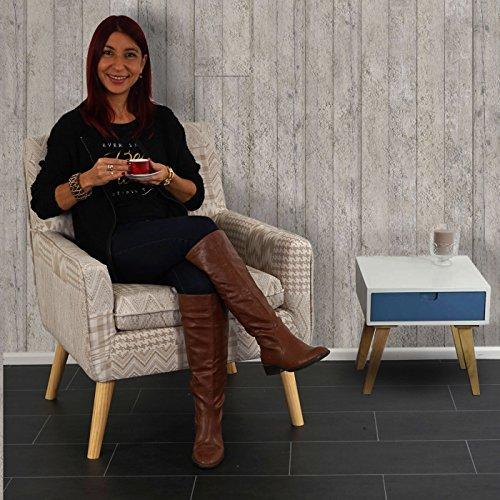 Sessel Malmö T370, Loungesessel Polstersessel, Retro 50er Jahre Design, Textil ~ beige/braun -