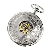 PACIFISTOR® Silver Tone Skeleton Mechanical Pocket Watch Hand Wind Roman Numerals Classic Engravable with Chain