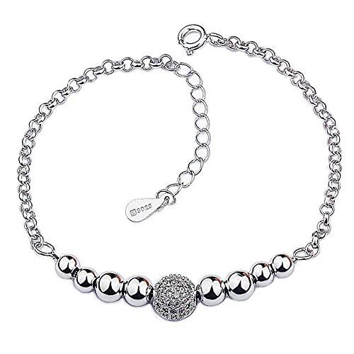 weeno da donna elegante con perline in argento Sterling 925e zirconia cubica, Argento, colore: White, cod. WEENO