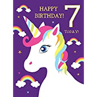 7th Birthday Card for Girl Unicorn & Rainbows Glitter Card Happy Birthday! 7 Today