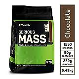 Optimum Nutrition Serious Mass, Mass Gainer Whey, Proteines Musculation Prise de Masse avec Vitamines, Creatine et Glutamine, Chocolat, 16 Portions, 5.45 kg...