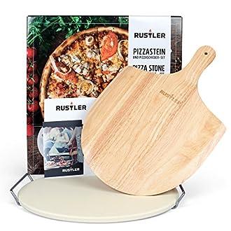 Pizzastein rund 38 cm Pizzaschieber Holz Geschenkverpackung
