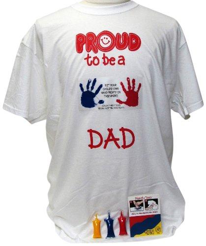 Handlich Tees ht84240Proud To Be A Dad T-Shirt mit Acrylfarben, mittel, weiß (Handabdruck Tee)