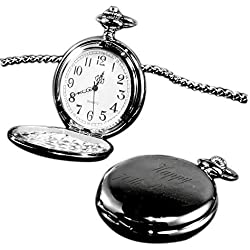 Happy 70th Birthday pocket watch black finish, personalised / custom engraved in gift box - pwbl