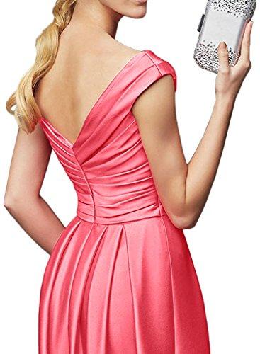 Gorgeous Bride Elegant Lang V-Ausschnitte Empire Satin Cocktailkleid Partykleid Festkleid Lila