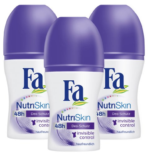 Fa Deo Roll-on NutriSkin Invisible Control, 3er Pack (3 x 50 ml)