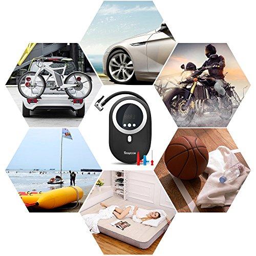 Compressore-Portatile-Per-Auto-Rraycom-Mini-Compressore-Aria-Compressa-Portatile-Pompa-Elettrica-per-Gonfiaggio-Pneumatici-Auto-Gonfiatore-Elettrico-e-3-Adattatori-di-Valvola-per-Materasso-ad-Aria-Vei