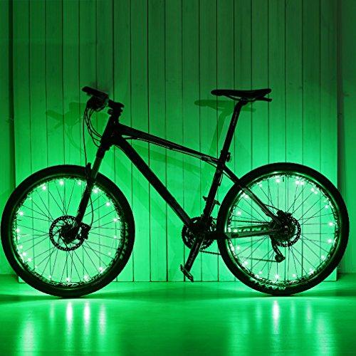 Ailiebhaus Fahrrad Licht 20 Led Rad Speichen Wasserdichte Speichenlicht ,2 Optionen vom Lichtmodus (Bunte Fahrrad-lichter)