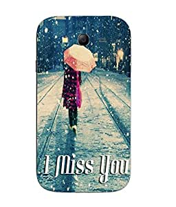 Snazzy Miss You Printed Grey Hard Back Cover For Samsung Galaxy J1
