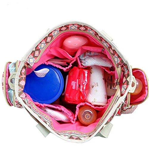 Kangming 6große Kapazität Baby wickeln Tasche Bohemia Stil Reisen Mummy Canvas Schultertasche rot