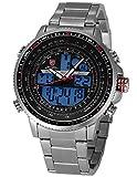 Shark Herren Armbanduhr XXL LCD Digital/Analog Weckerfunktion Edelstahl Uhrband SH325