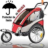RBO Remolque de Bicicleta para niños Urban, biplaza, Plegado rapido, antivuelco, Incluye