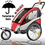 RBO Remolque de Bicicleta para niños Urban, biplaza, Plegado rapido, antivuelco, Incluye Kit Jogger, Carrito niños, opcion Paseo, Remolque para Correr, Rueda 360. Color Rojo