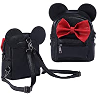 Cartoon Animal Backpack Girls Toddlers Kids PU Leather Cute Mouse Bowknot Mini Fashion Backpack Satchel Shoulder Nursery Hiking Travel Casual School Bag