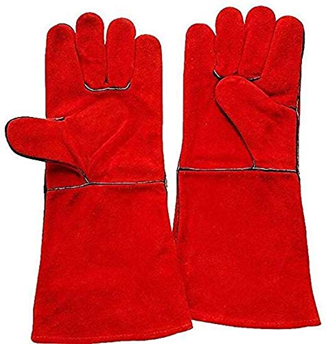 ZFZ Arbeiten im Freien Schweißer Handschuhe Hochtemperaturbeständige Handschuhe tragen Schweißen Lederhandschuhe Langen Abschnitt Arbeits-Handschuhe Rot (L)