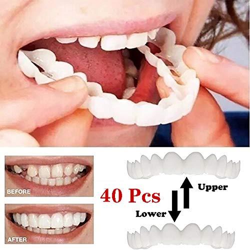 GAOwi Impiallacciatura più recente Denti, Denti Cosmetici da 40 Pezzi - Sorriso temporaneo Comfort Fit Flex Denti Cosmetici, comodità impiallacciatura e impiallacciatura Inferiore