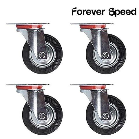 SPEED Lot de 4 Roulettes Pivotantes 125mm Charge Lourde Meuble 100 kg par rouleau - Speed acciaio