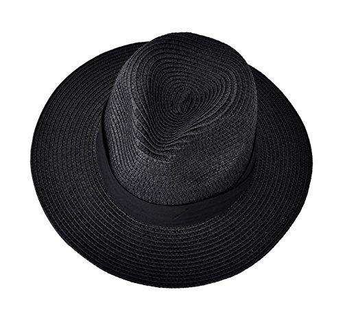 EXCHIC Damen Panama Faltbarer breite Krempe Strohhut Strand Sonnenhut (Schwarz) -