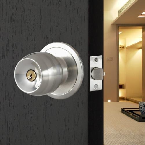 SODIAL (R) Edelstahl runden Tuergriffe Griff Eingang Passage Sperreintrag mit Key Neu