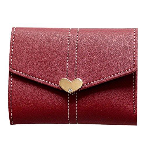 Rovinci Frauen Herzförmige Clutch Geldbörse Kurze Brieftasche Kartenhalter Handtasche Tasche (Wein) (Womens Französisch Geldbörse)