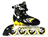 COCKATOO ABEC 7 INLINE ADJUSTABLE SKATES IS05 (90 mm Wheel) BLACK/YELLOW (Large)