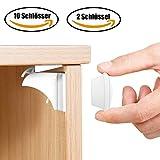 Babysicherheit Magnetisches Schrankschloss 10 Schlösser mit 2 Schlüssel, unsichtbare Magnetschloss für Schrank und Schubladen, ohne Bohren und Schrauben, Installationschablone enthalten - TimberRain