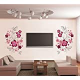 Decals Design 'Flowers with Vine' Wall Sticker (PVC Vinyl, 30 cm x 90 cm, Multicolor)