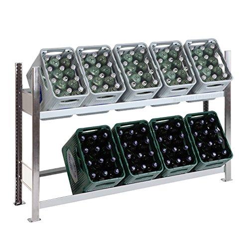 SCHULTE Getränkekisten-Grundregal 1000 x 1560 x 336 mm, komplett verzinkt, 3 Ebenen, für bis zu 10 Kästen; MADE IN GERMANY