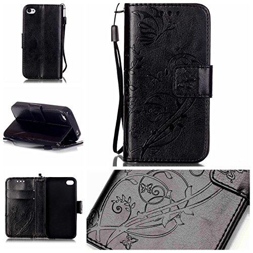 iPhone Case Cover Folio flip Case Stand, Case Wallet avec Cash et fente pour carte haut de gamme PU Housse en silicone en cuir pour iPhone4S ( Color : Blue , Size : IPhone 4S ) Black
